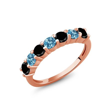1.28 Ct Round Black Diamond Swiss Blue Topaz 18K Rose Gold Plated Silver Ring