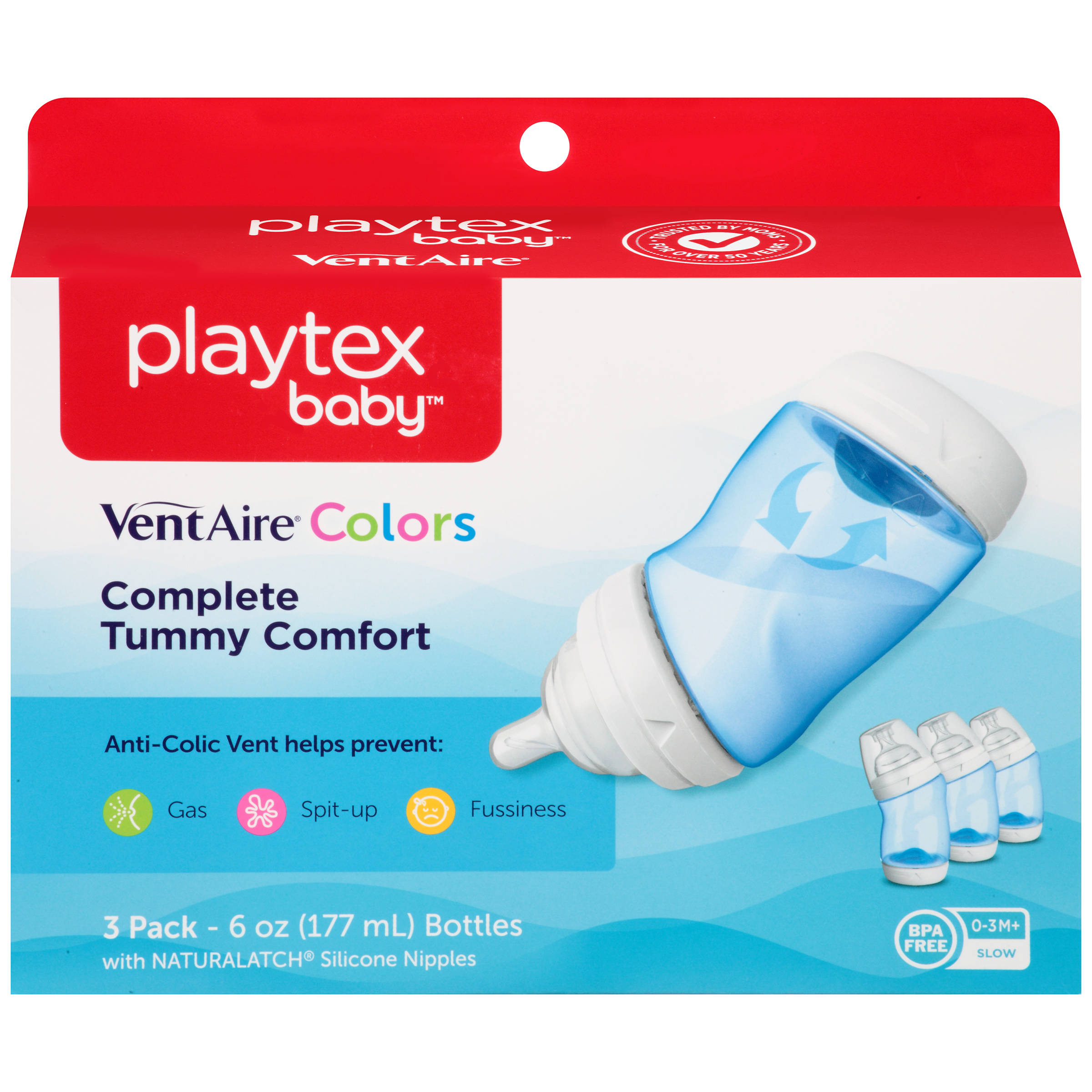 Playtex Baby VentAire Advanced Baby Bottles - 6oz, Blue, 3pk