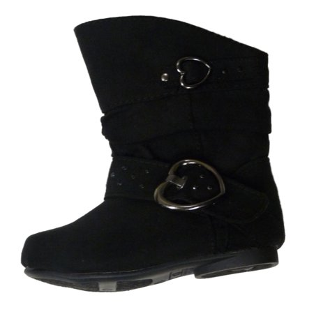 Canyon River Blues Toddler Girls Black Suede Look Mid-Calf Boots Hearts