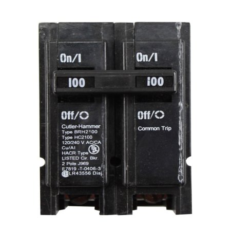 100a Main Breaker - Eaton Cutler-Hammer BRH2100 100A 2P 120/208/240V Circuit Breaker  - Black