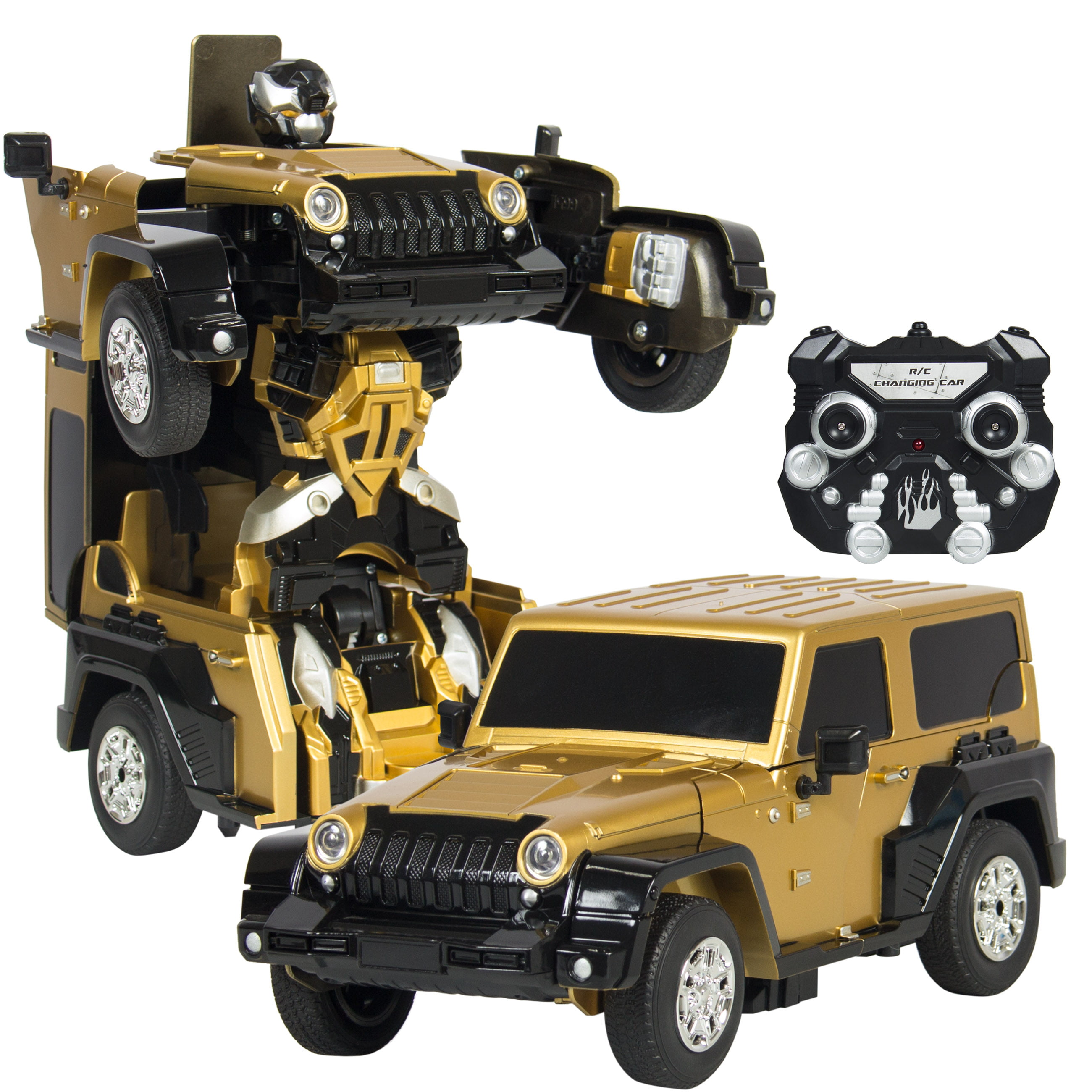 Best Choice Products Kids Toy Transformer RC Robot Car Remote Control Car- Yellow Gold by