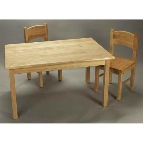 3 Pc Wood Activity Table & Chair Set - Natural Finish