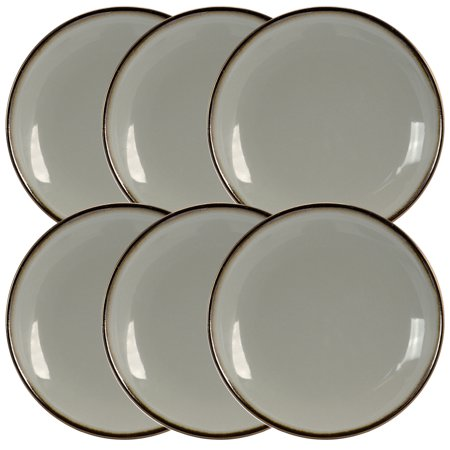 - Elama Tahitian Sand 6-Piece Salad Plate Set in Light Grey