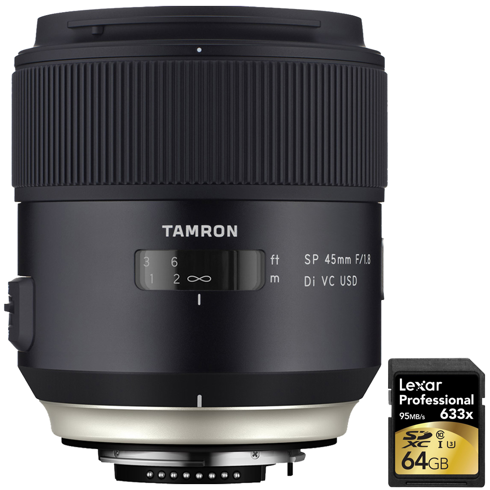 Tamron SP 45mm f 1.8 Di VC USD Lens for Canon EOS Mount (AFF013C-700) with Lexar 64GB Professional 633x SDXC Class 10... by Tamron
