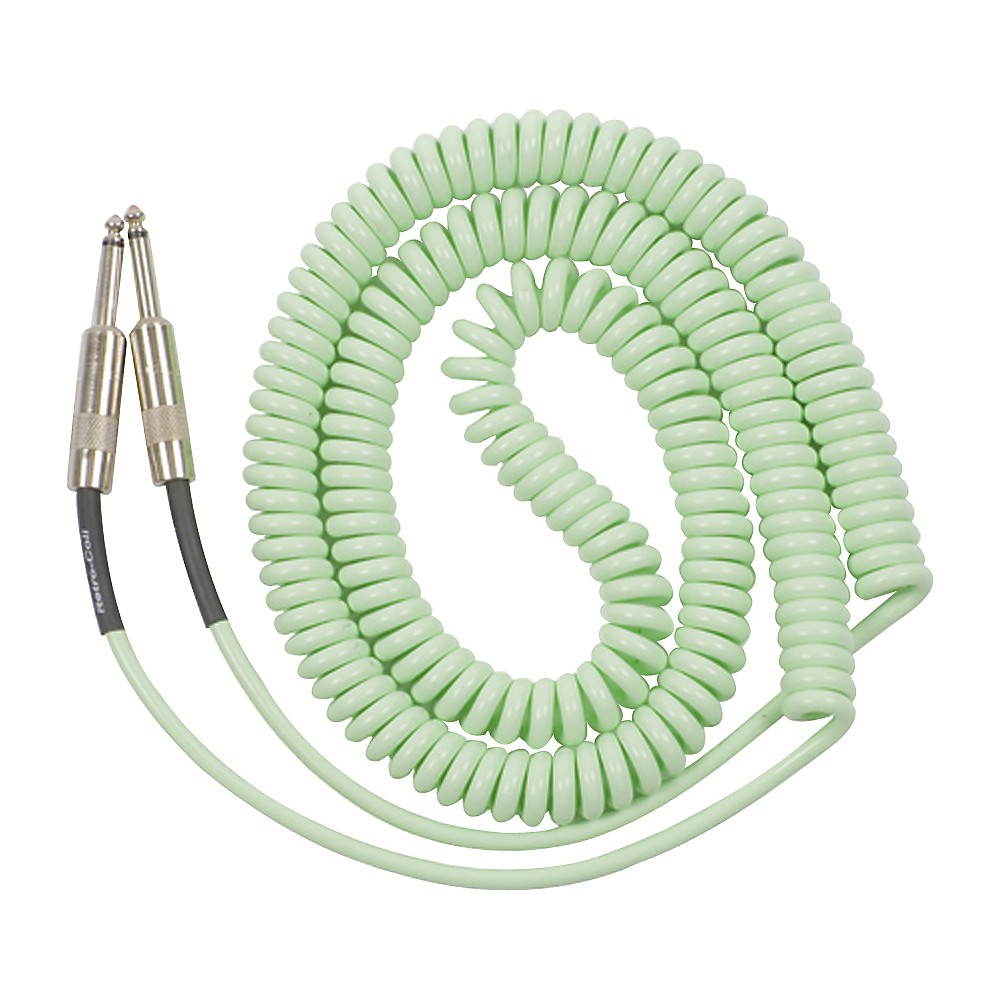 Lava Retro Coil 20-Foot Silent Instrument Cable Straight-Straight Assorted Colors Surf Green