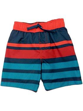 Toddler Boys Red Blue & Orange Striped Swim Trunks Board Shorts