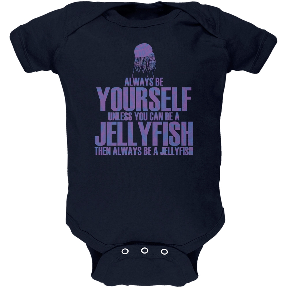 Always Be Yourself Jellyfish Navy Soft Baby One Piece