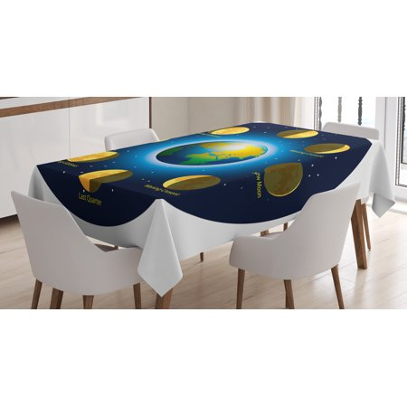 (Educational Tablecloth, Circular Frame Showing Basic Phases of Moon Calendar Cosmos Universe, Rectangular Table Cover for Dining Room Kitchen, 60 X 84 Inches, Blue Indigo Mustard, by Ambesonne)