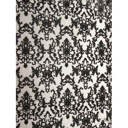 English Fabric - English Damask Beaded Sequins Dress Fabric / Black / Sold By The Yard