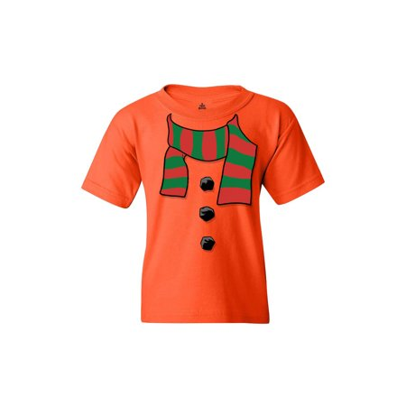 Shop4Ever Youth Snowman Scarf Christmas Costume Holiday Graphic Youth T-Shirt