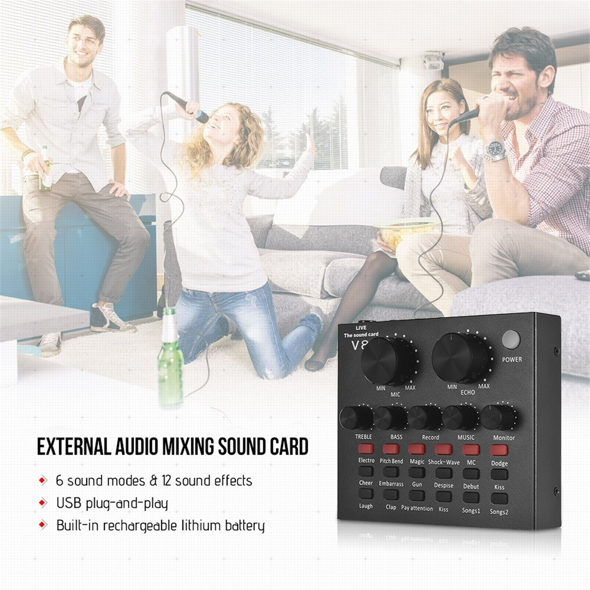 External Audio V8 Mixing Sound Card USB Audio Interface with Multiple Sound