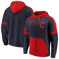 Cleveland Indians Fanatics Branded Big & Tall Iconic Color Block Full-Zip Hoodie - Navy/Red