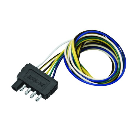 Wesbar 702405 5 Way Flat Wiring Connector  Trailer End  18 In  Wunside Harness  18 In  Ground  18 In  Auxiliary