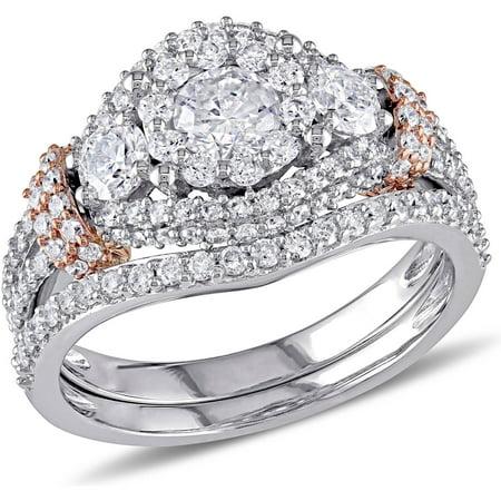 Two Tone Bridal Sets (1-1/2 Carat T.W. Diamond 10kt Two-Tone Gold Halo Cluster Bridal Set)