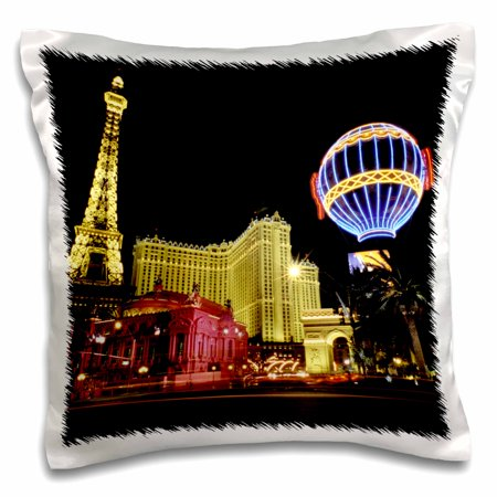 3dRose Paris Hotel and Casin at Las Vegas Strip United States - Pillow Case, 16 by (37789 Roses)