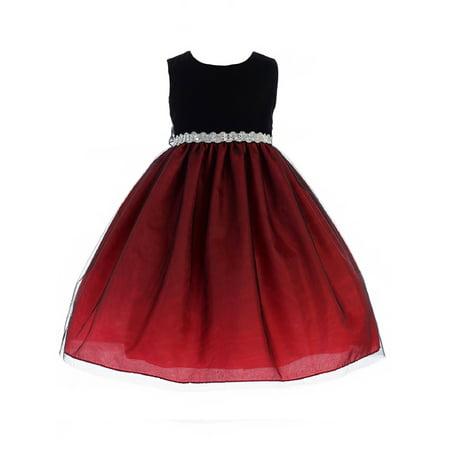 Crayon Kids Girls Red Black Bejeweled Waist Junior Bridesmaid Dress](Crayon Dress)