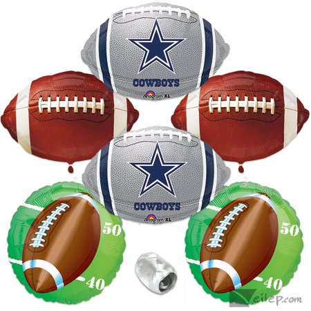 Dallas Cowboys Mylar Football Party 6pc Balloon Pack, Navy Silver White - Dallas Cowboys Theme Party