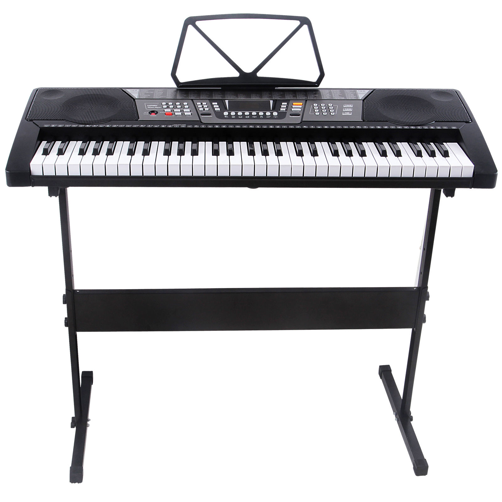 Uenjoy 61-Key Electronic Piano Electric Organ Music Keyboard with Stand - Black