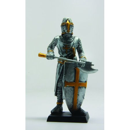 4 Inch Medieval Knight with Axe and Shield Resin Statue Figurine (Medieval Shields)