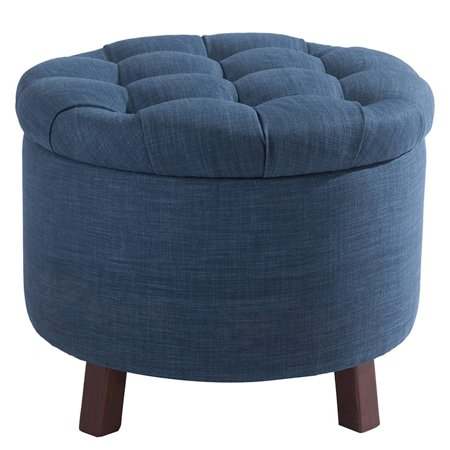Tufted Ottoman-Deluxe-Navy