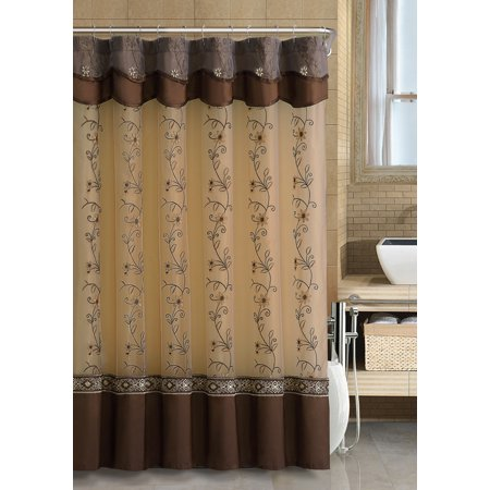 Chocolate Brown Two Layered Embroidered Fabric Shower Curtain With Attached Valance