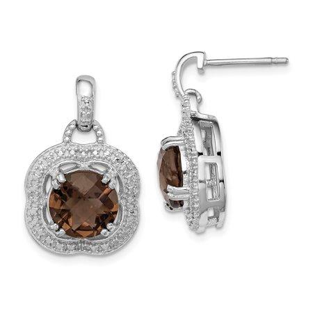 Sterling Silver Rhodium-plated Smoky Quartz Earrings QE9868SQ - image 1 de 2