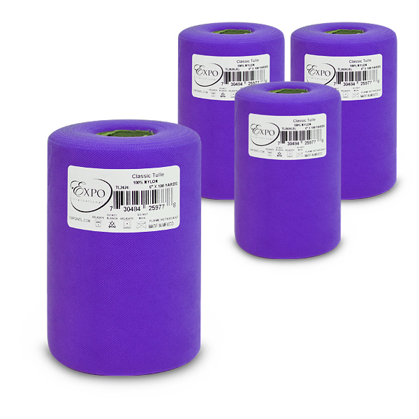 """Expo Int'l Pack of 4 Classic 6"""" Tulle Spool of 100 Yards"""