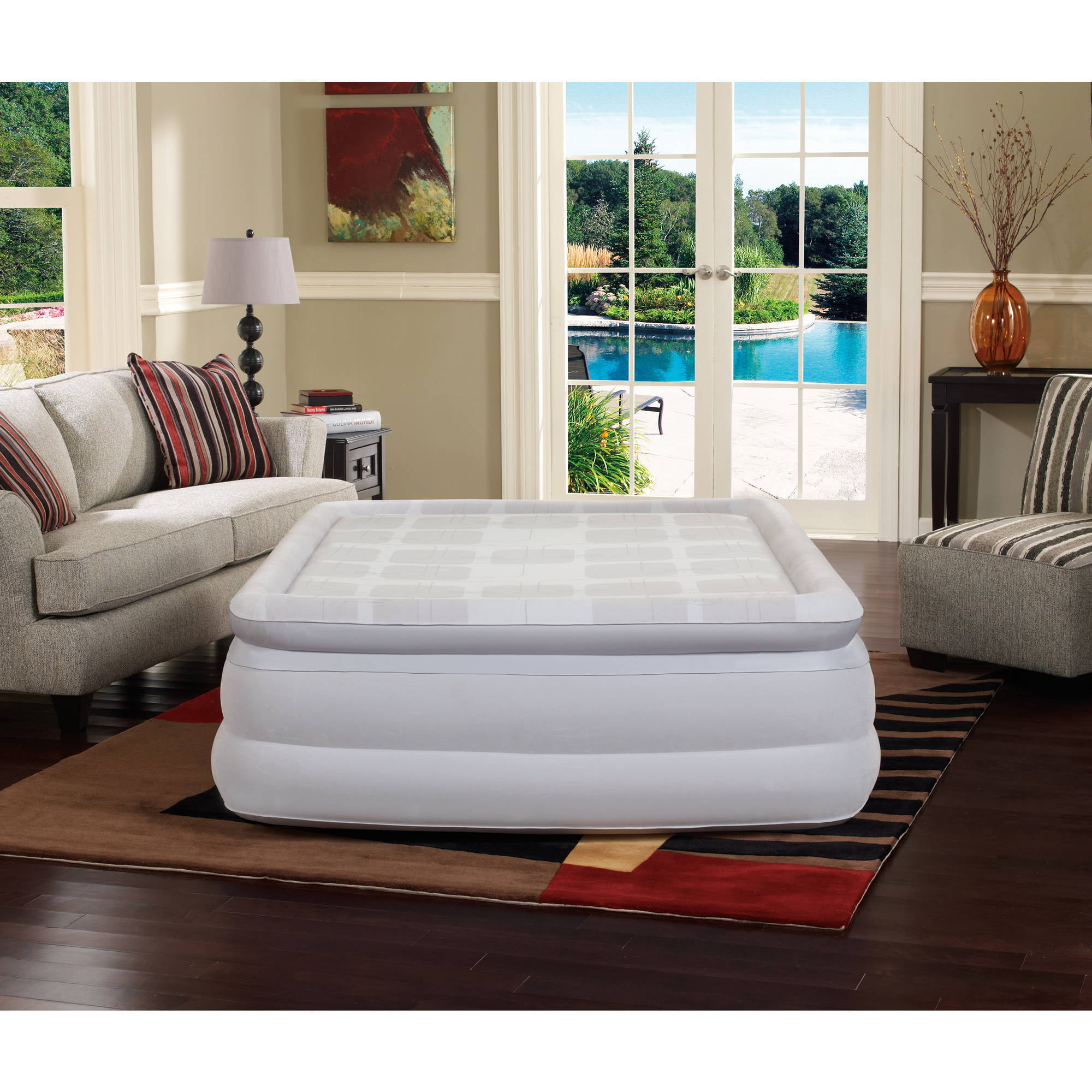 Bed rest pillow walmart - Simmons Beautyrest Memory Aire 18 Raised Queen Air Bed Mattress With Built In Pump Walmart Com