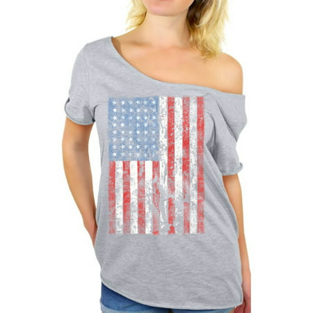 Awkward Styles American Flag Distressed Off the Shoulder T Shirt USA Shirts for Women USA Flag Tshirt Tops for the Independence Day 4th of July Shirts Women's Patriotic Outfit Fourth of July Gifts