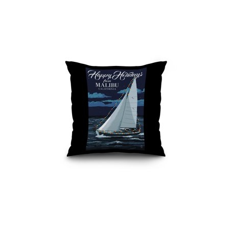 Malibu  California   Christmas Lights Sailboat   Lantern Press Artwork  16X16 Spun Polyester Pillow  Black Border