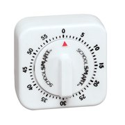 School Smart Small Timer with Bell, 60 min, 2-1/2 in W X 2-1/2 in H X 1-3/8 in D, White