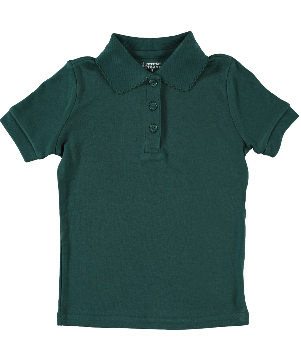 French Toast Big Girls' S/S Fitted Knit Polo With Picot Collar (Sizes 7 - 20)