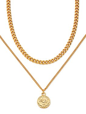 """Scoop Brass Yellow Gold-Plated Layered Coin Necklace, 16.5"""" + 3"""" Extender"""