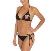Miss Fanatic Miami Heat Women's Game Girl Triangle String Bikini Set - Black
