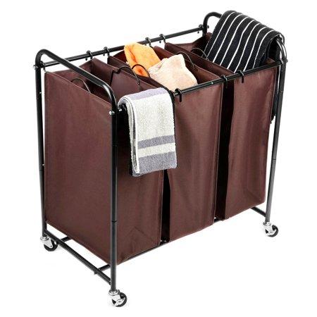 Maidmax heavy duty 3 bag laundry sorter rolling laundry sorter cart with 4 wheels - Laundry hamper wheels ...