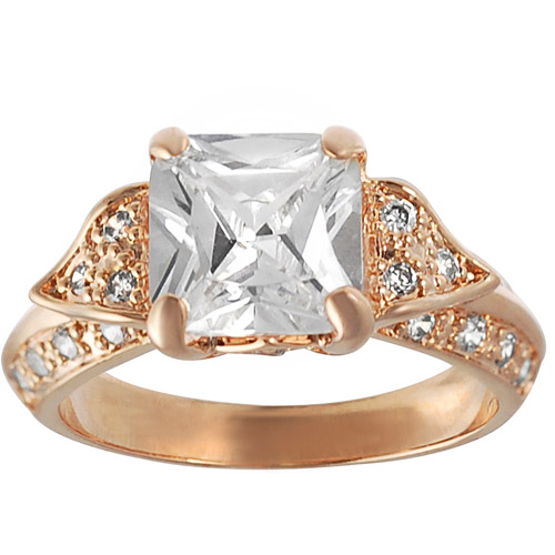 Alexandria Collection Goldtone Sterling Silver Princess-Cut Cubic Zirconia Engagement Ring