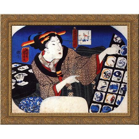 Woman Selling Decorative Bowls 24X20 Gold Ornate Wood Framed Canvas Art By Utagawa Kuniyoshi