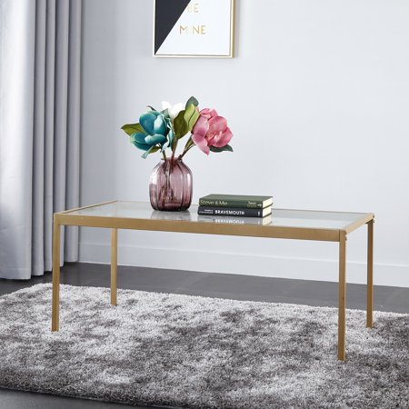 Gold Antique Coffee Table - Mainstays Tempered Glass and Metal Coffee Table Collection, Gold