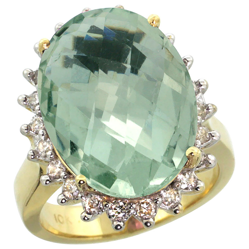 10k Yellow Gold Natural Green Amethyst Ring Large Oval 18...
