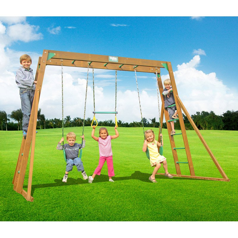 Creative Playthings Classic Swing Set with Top Ladder