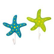 Coastal Starfish Blue and Lime Green Hooks Wood Wall Plaques 7.75 Inch Set of 2