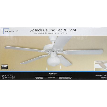 Mainstays 52 dual mount one light ceiling fan white best mainstays 52 dual mount one light ceiling fan mozeypictures Choice Image