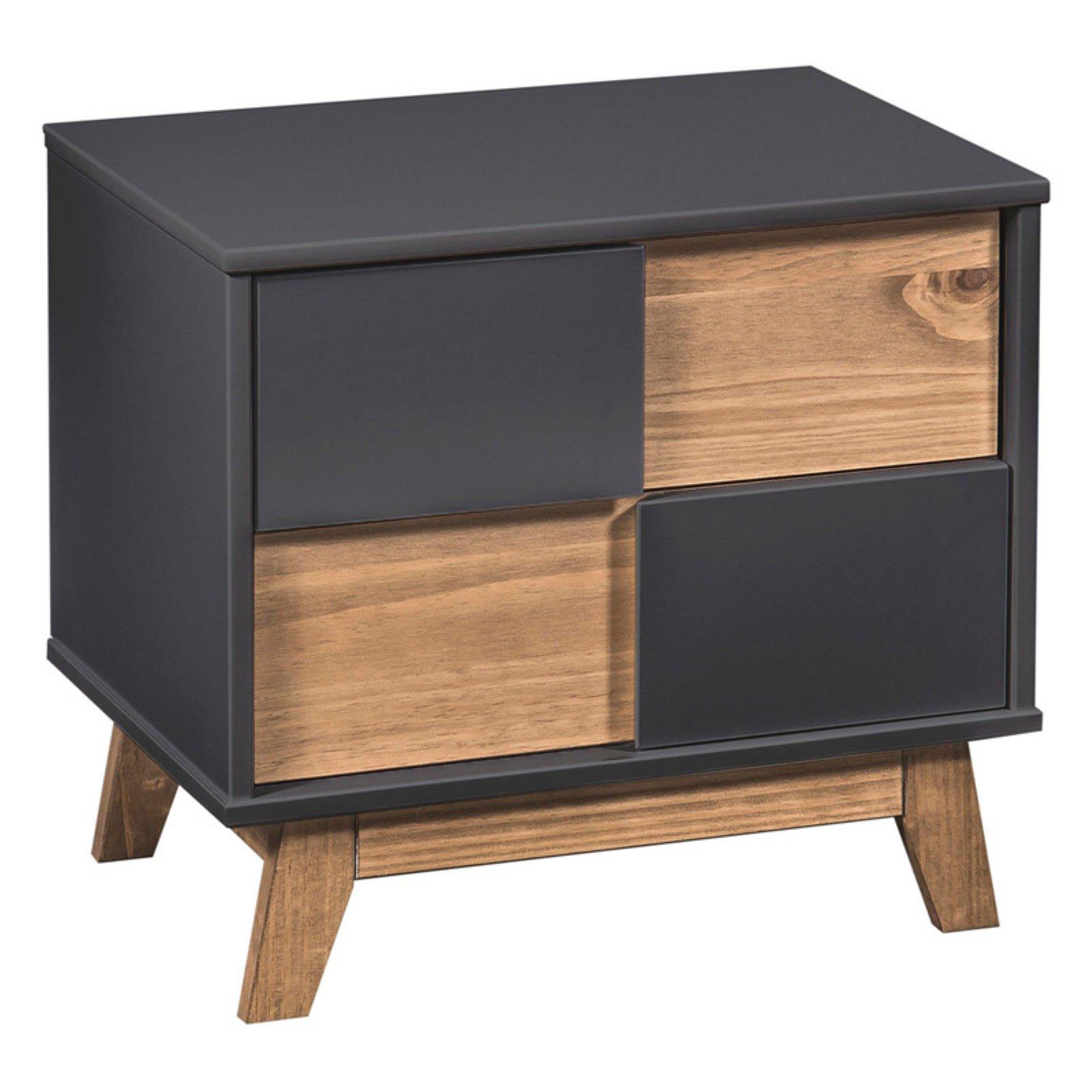 Manhattan Comfort Mid- Century Rustic Modern Livonia 2-Drawer Nightstand in Dark Grey and Natural Wood