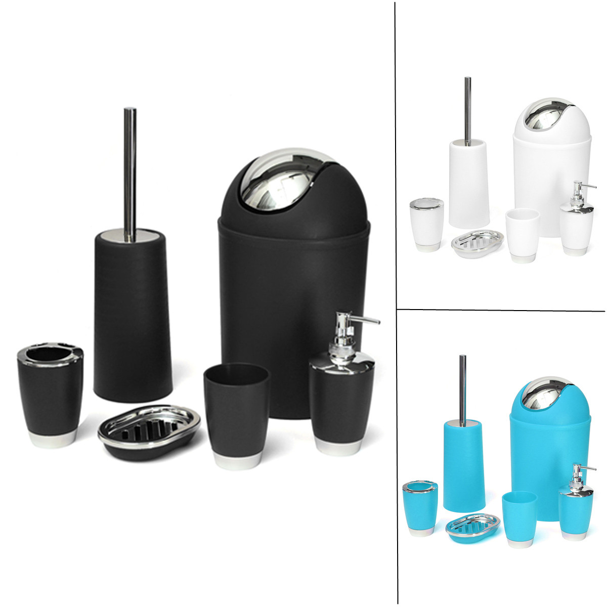 6Pcs Set Home Bathroom Organizer Accessory Bin Soap Dish Dispenser Tumbler Toothbrush Holder Stand Christmas Birthday Gift