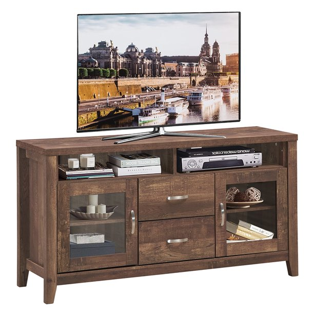 Costway TV Stand Tall Entertainment Center Hold up to 58'' TV w/ Glass Storage & Drawers