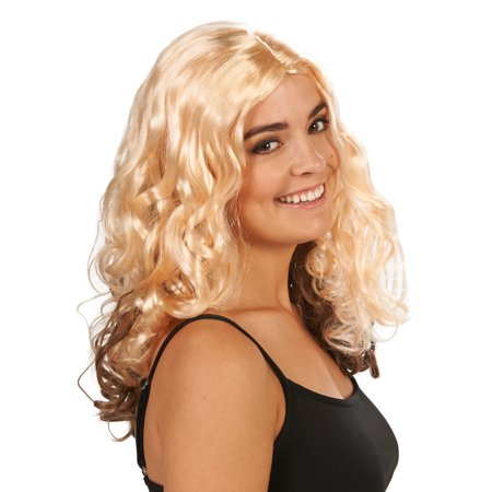 Blonde with Brown Layer Curly Adult Wig - Blonde Curly Wig