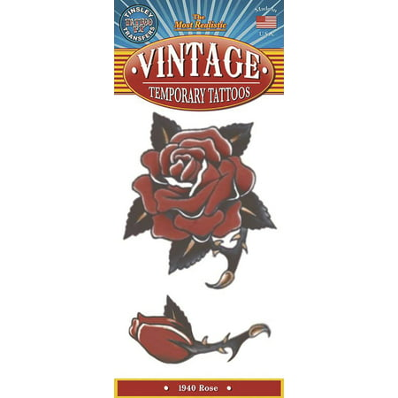Tinsley Transfers Rose 1940 Vintage Temporary Tattoo FX, Red Black - Halloween 1940