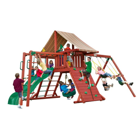 Gorilla Playsets Sun Climber II Wooden Swing Set with Sunbrella® Brannon Redwood Canopy, Monkey Bars, and Tire Swing