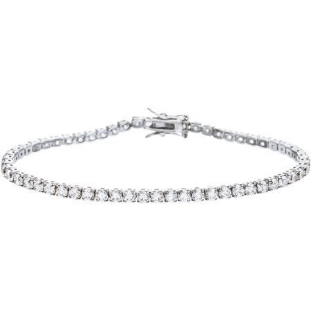 - Lesa Michele Genuine Cubic Zirconia Clear 4-Prong Round Square Tennis Bracelet in Sterling Silver