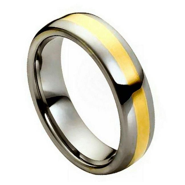 TK Rings 179TR-6mmx12.5 6 mm High Polished Yellow Gold IP Plated Center Tungsten Ring - Size 12.5 - image 1 de 1